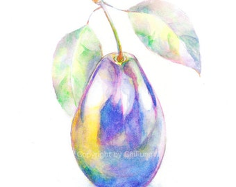 Vegetable, vegetable art print, watercolor, watercolor painting, watercolor art print, Purple, plum ----print
