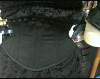 "Standard size waspie Vixen in black sateen coutil black lace 22"" 23"" 24"" 25"" 26"""