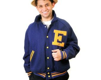 80s Varsity Letter Jacket, Vintage Varsity Jacket, Hockey Jacket, Letter E, School Athletic Jacket, Size L