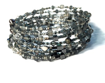 Grey seed bead stacking bangle set, wire wrap grey bracelet, delicate seed grey wrap7x memory wire bracelet,pearl,crystal,hematite.