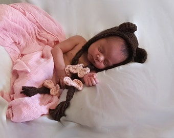 Knit Baby Bear Bonnet, Knit Baby Bonnet, Organic Cotton Baby Hat, Organic Cotton Baby Bonnet, Baby Cotton Bonnet,  Baby Organic Cotton Hat