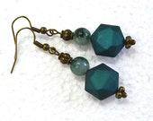 Dark Teal Drop Earrings - Beaded Dangle Earrings, Nickle-Free Brass Finish Ear Wires, Handmade in the USA, Ready to Ship