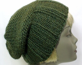 Green Slouchy Hat: Hand Knit Hat, Wool Toque, Chunky Knits, Green Watchcap, Man's or Woman's Hat, Handmade in the USA, Ready to Ship