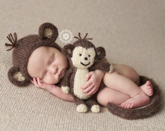 Newborn Monkey Bonnet, Tail and Buddy Photo Props, MADE TO ORDER