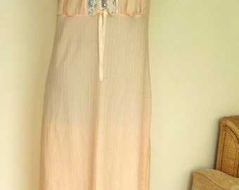 Vintage Peach Lace Negligee Long Length Slip Dress Small