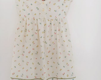 Vintage Inspired Handmade Floral Girls Dress Size 6X/7