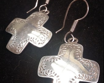 """Cross shaped Mexican silver earrings 2"""" tall by 1"""" wide"""