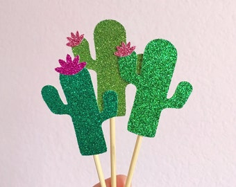 Glitter Cactus Cupcake Toppers - Fiesta Cupcake Toppers - Cactus Decor // Cinco de Mayo Party // Fiesta Decorations // Fiesta Party Supplies