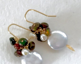 Ethiopian Opal and Coin Pearl Drop Earrings, October Birthstone by KarenWhalenDesigns