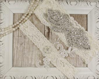 Light Ivory Pearl Beaded Lace Wedding Garter Set , Ivory Lace Garter Set, Toss Garter , Keepsake Garter, Bridesmaid Gift, Prom, Wedding Gift