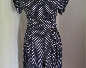 Vintage 1940s 1950s navy polka dot rayon dress, small