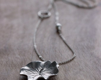 Lotus Leaf Sterling Silver Necklace, Silver Leaf Pendant, Lotus Leaf Necklace, Yoga Jewelry, Asymmetric