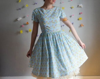 Light Blue Corgi & Balloon Print Dress / Girl's Best Friend Dress