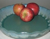 Pottery Pie Plate, Deep Dish 10 inch, Blue Sage Green, Microwave, Dishwasher and Oven-Safe Wheel Thrown Pottery