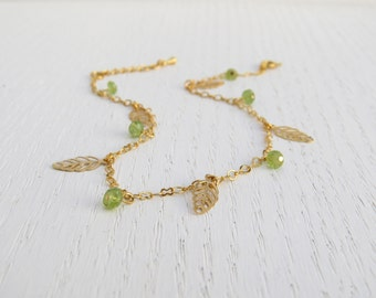 Gold ankle bracelet, Gold leaf anklet, August birthstone, Peridot jewelry