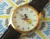 Vintage Mickey Mouse Watch, Lorus Model V531-6A20, Animated Mickey is Second Hand, Quartz Battery Watch, Mickey Mouse Spins, Disney Watch