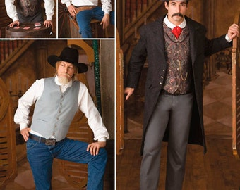 Simplicity 2895 Men's Steampunk or Western Frock Coat, Shirt and Vest Costume Sewing Pattern