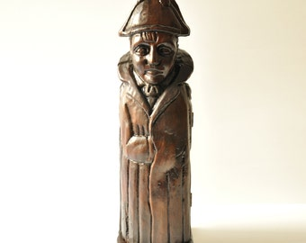 Antique Carved Wooden Napoleon Wine Liquor Bottle Holder Safe