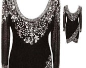 """Oleg Cassini """"Black Tie"""" Evening Dress with Low Scoop Back in Black / White / Silver - Fits Size Small (US Sz 6)"""