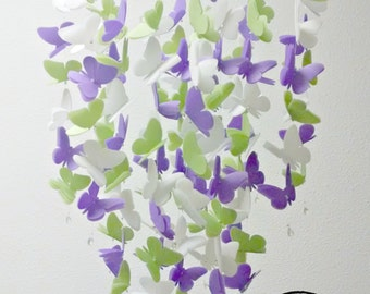 Medium Vellum Butterfly Mobile in Violet, Leaf Green and White