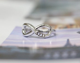 Delta Sigma Pi Fratenity Sterling Silver Infinity Ring //ΔΣΠ Fraternity // Co Ed Fraternity// DSP Jewelry// DSP Ring// Deltasig// Gifts