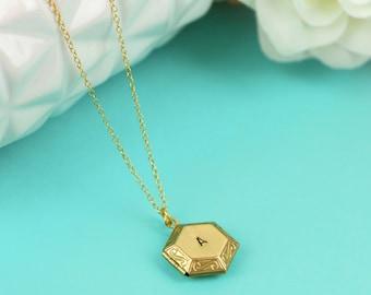 Personalised Locket Pendant, Hexagon Locket, Personalized Locket Necklace, Initial Locket, Gold Locket, 18k Gold Necklace, Personalized Gift