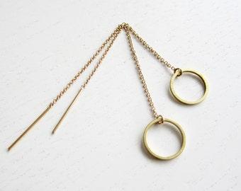 CIRCLE THREADER  | circles earrings, long earrings, gold earrings, chain earrings, tread earring, geometric, needle threader, minimal |