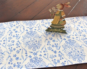 Easter Table Runner Bunnies in Blue and White
