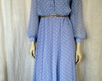 70's Periwinkle Polkadot Dress