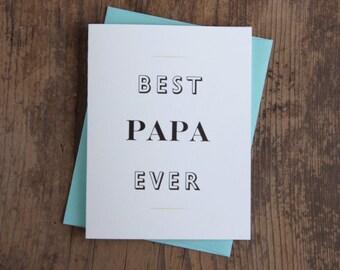 Best Papa Ever Letterpress Card
