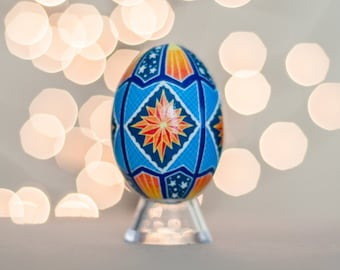Orange and Blue Stars Pysanky Chicken Egg -- Hand dyed Ukrainian Easter Egg