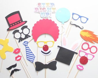 22 pc * Circus Themed Photo Booth Props Set/Carnival Photobooth Props