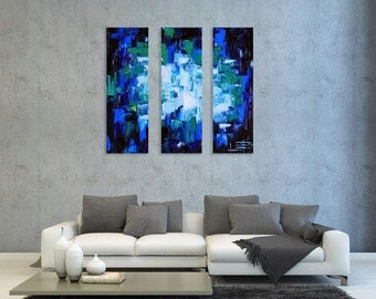 """Abstract Painting, Contemporary Art, Large Modern Oil, Palette Knife, Oil Painting, 36"""", 3', Abstract Art, Blue Hues, Textured Painting"""