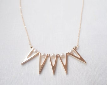 ON SALE! Pearls and Gold Spikes Statement Minimal Necklace
