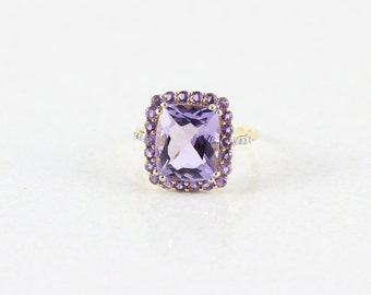 10k Yellow Gold Amethyst Ring Size 7 3/4
