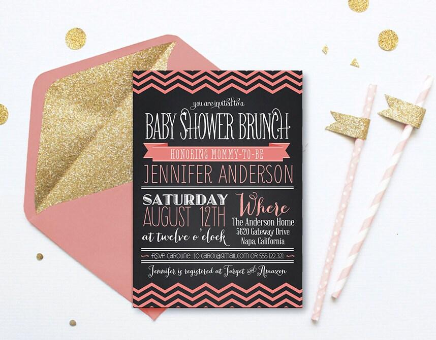 chevron baby shower brunch invitation chalkboard baby by ohsoparty