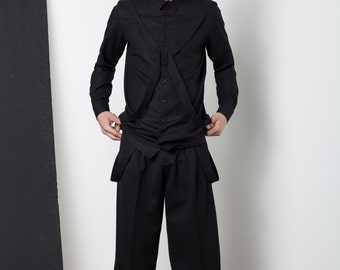 Mens Shirt Mens black shirt chinese collar dress shirt button