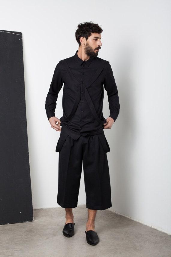 Mens Shirt Mens Black Shirt Mens Tunic Mens Long Sleeve Shirt