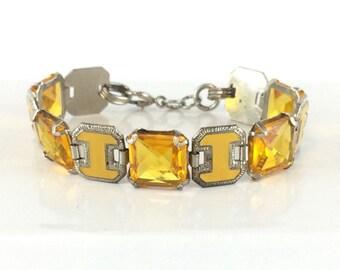Vintage Art Deco Enamel Bracelet Citrine Crystal Yellow Enameled Bracelet Antique Jewelry Anniversary Gift Birthday Present Estate Jewelry