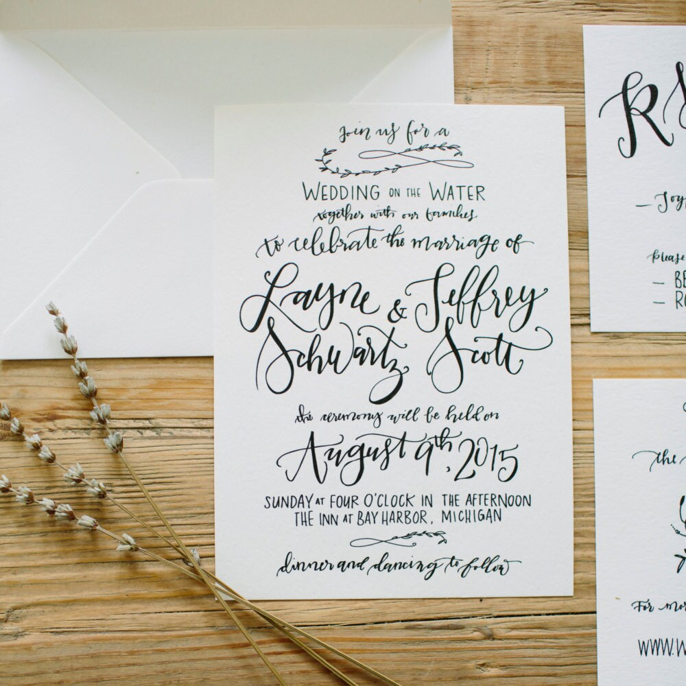 digital calligraphy invitation custom handwritten for diy