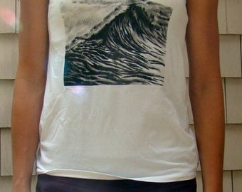 Waves, Women's v-neck shirt, wave t-shirt, nautical shirt, nautical print
