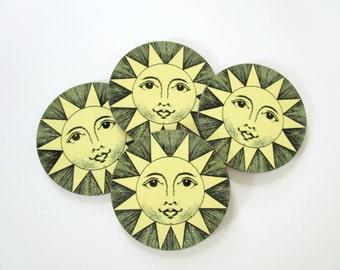 Sun Coaster Set - Vintage Style Sun Coasters - Summer Drink Coasters - Yellow Kitchen Cottage Decor