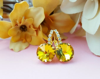Gold Earrings, Yellow Earrings, Golden Earrings, Yellow Crystal Earring, Green and Gold, Swarovski, Iridescent AB Earring, E3374