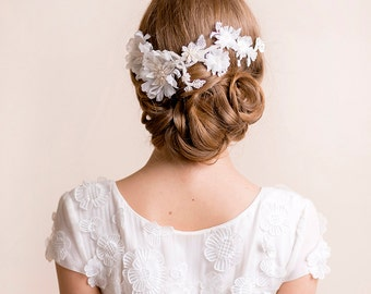 Bridal Flower Headpiece on Lace - Floral Headpiece Handmade of Silk - Bridal Hair Piece - Wedding Lace Hairpiece - Statement Piece