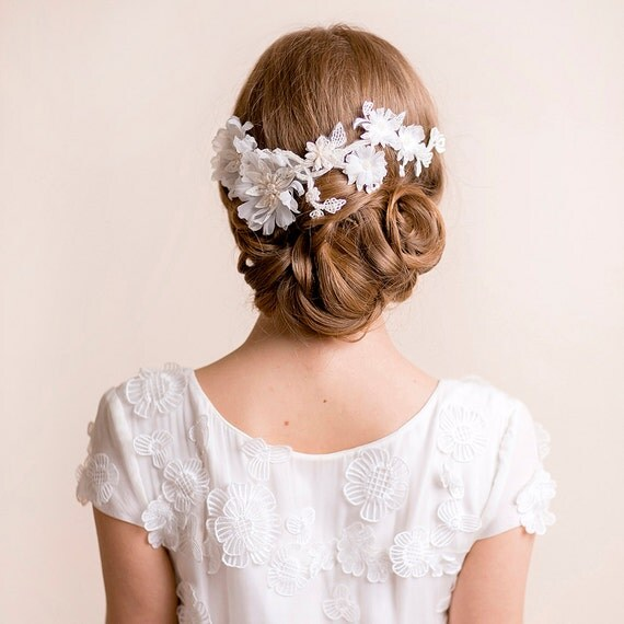 Wedding Flower Headpieces: Bridal Flower Headpiece On Lace Floral Headpiece Handmade Of