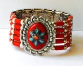 Red and Silver Boho Cuff Bracelet Painted Bohemian Hippie Tribal Jewelry FREE SHIPPING