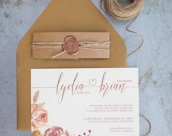 printable floral calligraphy watercolor wedding invitation, orange aubergine flowers, calligraphy hearts, kraft paper, wax seal, copper