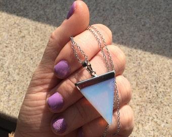 Traingular Opalite Necklace, Grunge Moonstone Triangle Necklace