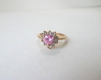 Heart Ring Pink Topaz Ring Heart Gemstone Gold Ring Size 7 Pink Heart Clear Cubic Zirconia Heart Shape Gold Vintage Ring Jewelry