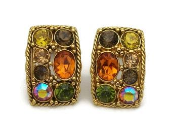 Joan Rivers Crystal Rhinestone Autumn Colors Gold Tone Clip Earrings - Gold Rope Twist Orange Yellow Brown Green AB Rectangular Clip Ons